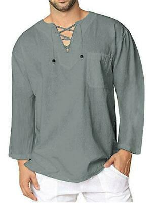 e222a38b7301 Men's Baggy Linen Long Sleeve Summer Cotton Retro V Neck T Shirts Blouse