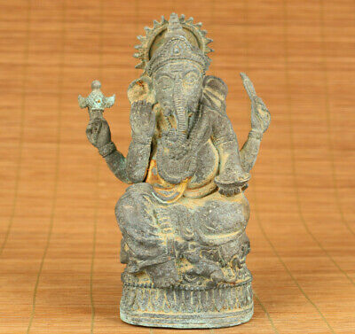 old bronze hand carved elephant god statue figure collectable home decoration