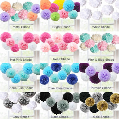 9 Pack Mixed Tissue Paper Pompom Hanging Ball-flower Wedding Party Decor
