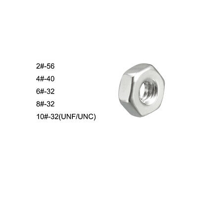 2# 4# 6# 8# 10# 304 Stainless Steel Hex Screw Nuts Hexagon Locknut Silver Tone
