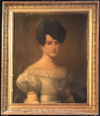 Fine 1820's French Oil - Portrait Of Elegant Young Lady - Signed & Dated 1827