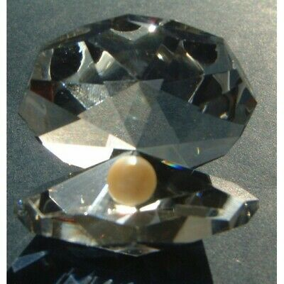 Crystal World  Cut Glass Octagonal Oyster Ornament  With Crystal Pearl