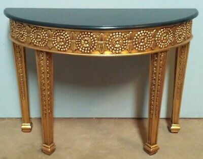Solid Mahogany French Chateau Style Gilt Green Marble Top Console Hall Table