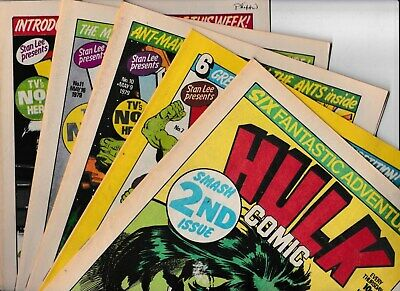 5 UK HULK COMICS 1979 No's 2, 7, 10, 11, 12. ALL IN GOOD CONDITION