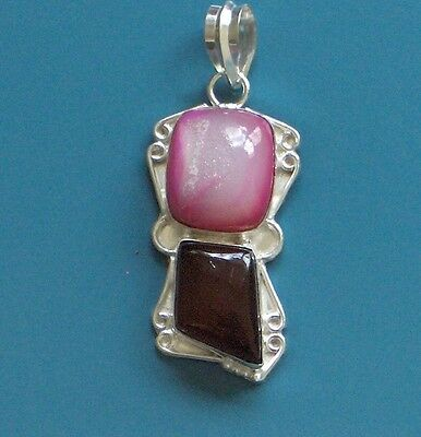 "Pink Agate Druzy, Carnelian 2.5"" Solid 925 Silver Lovely Pendant"