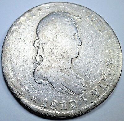1812 HJ Spanish Silver 8 Reales Eight Real Colonial Dollar Pirate Treasure Coin