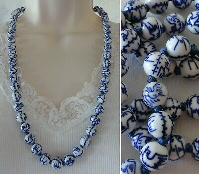 Vintage CHINESE PORCELAIN Bead Necklace BIRD SYMBOL 10 mm Blue White Beads 26""