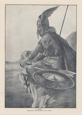 Early Norse Viking Scandinavian Nordic Viking Helmet Antique Print 1910