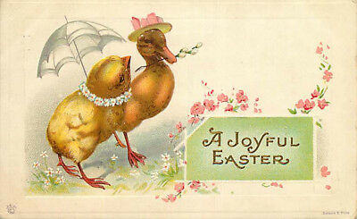 Embossed Easter Postcard Chick w/ Umbrella & Duckling w/ Hat