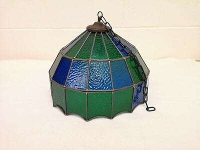 Large Antique / Vintage Stained Glass Light Shade. Wonderful Bohemian Piece!