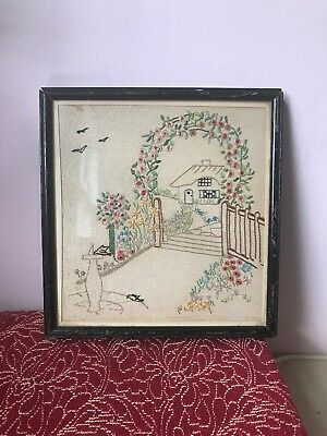 Vintage Needlepoint Tapestry Picture Wall Hanging