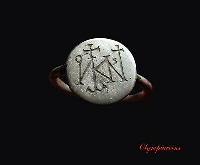 ** EXTRAORDINARY **  Ancient Byzantine Silver  ** MONOGRAM ** ring
