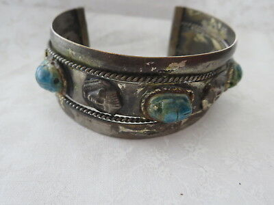 Vintage Egyptian Turquoise color Scarab Silver-tone Cuff bracelet-BR138