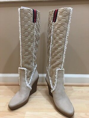 Beautiful New Gucci 150203 Suede Leather Gg Logo Long Boots 5.5 C 100% Authentic