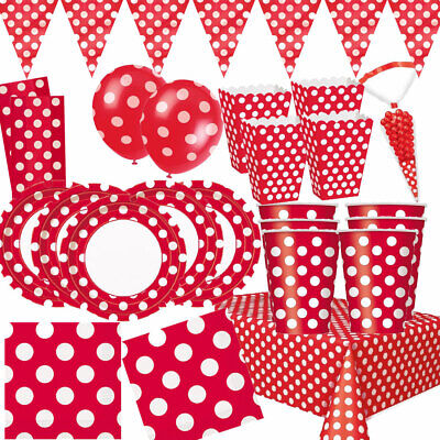 RED DOTS PARTY BIRTHDAY TABLE CLOTH PLATES CUPS SPOTTY DECORATIONS Disposable