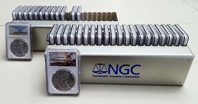 1986 - 2019 COMPLETE 34 COIN AMERICAN SILVER EAGLE SET NGC MS 69 w/~4~ PREMIUMS