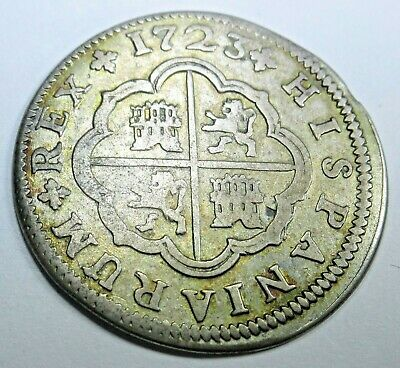 1723 Spanish Silver 2 Real Piece of 8 Reales Colonial Era Two Bits Pirate Coin