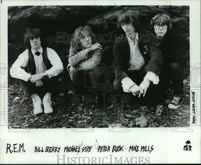 1984 Press Photo Members of R.E.M. Music Group on I.R.S. Records - mjc42309
