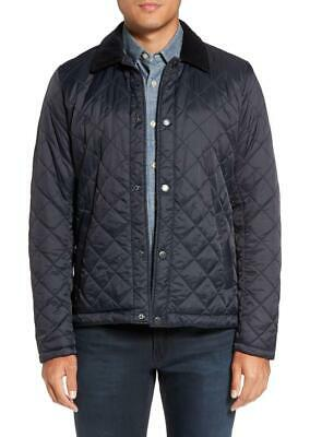 Barbour Classic Tartan Holme Navy Blue Quilted Snap Down Jacket XXL