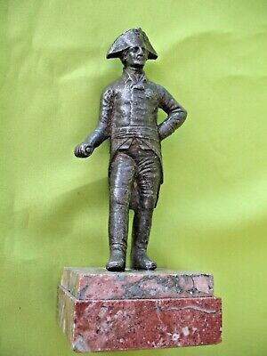Antique cast metal figurine of Lord Nelson in Bicorn hat  on marble base