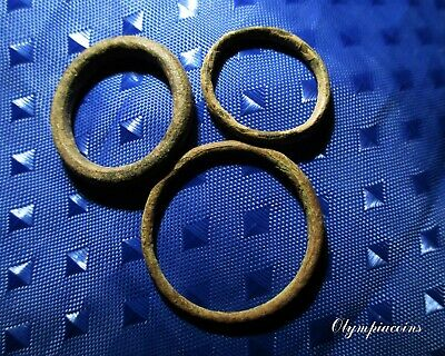 LOT of 3 Ancient CELTIC Bronze PROTOMONEY   rings