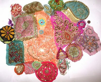 LOT Antique Vintage Sari Saree EMBROIDERED APPLIQUES 25 PCS HAND CUT #ABLUM