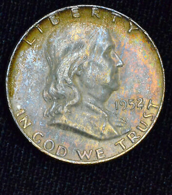 50c Cent 1/2 Half Dollar 1952 D UNC BU Franklin Silver Colorful Pastel Tone