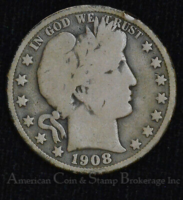50c Cent 1/2 Half Dollar 1908 O Barber Head Silver