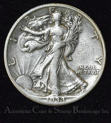 50c Cent 1/2 Half Dollar 1933 S Walking Liberty Silver 50 Cents