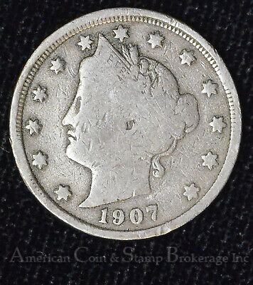5c Nickel Five Cents 1907 Liberty Head V Nickel 5 Cent