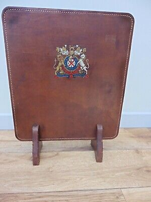 Superb Country House games room Brown leather clad fire screen + armorial motif