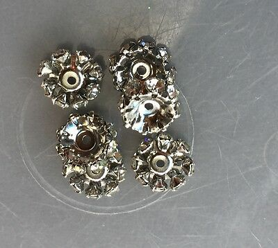Vintage Austrian Silver Metal Clear Prong Rhinestone Eternity Rare Rondell Beads
