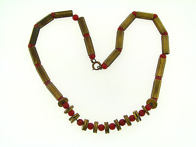Vintage Aged Patina Raw Brass Edged Tube & Rondell Carnelian Glass Bead Necklace
