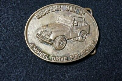 VINTAGE 1970s **SUPER JEEP** 4 WHEEL DRIVE 4x4 SOLID BRASS BUCKLE