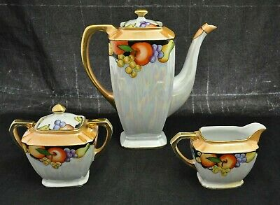 VTG Art Deco Noritake Lustreware Fruit Coffee or Tea Pot Creamer & Sugar