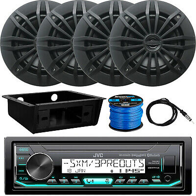 "JVC KD-X35MBS Receiver, 4 x 6.5"" Speakers, Dash Kit, Antenna, Speaker Wire"