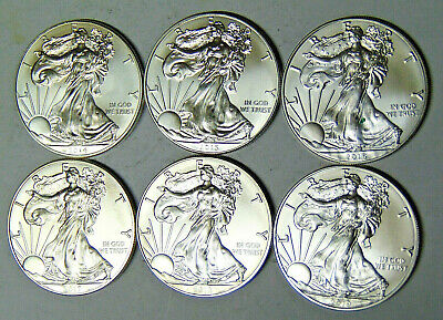 Lot of 6 American Silver Eagles 2014 2015 2016 2017 2018 2019 Silver Dollars