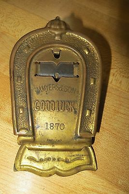 antique brass M.MYER&SON 1870 dated Good luck horseshoe advertising clip,England