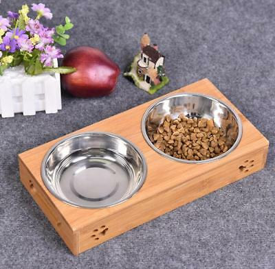 new Double Bowls Raised Stand For Cat Pet Dog Stainless Steel Feeder Food Bowl