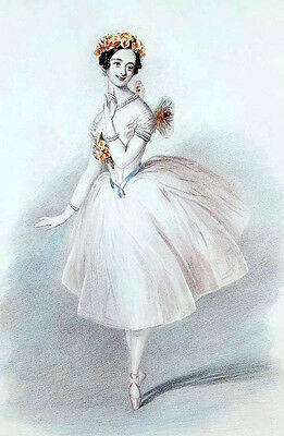 Oil painting beautiful young ballet girl in white ballet skirt dancing wonderful