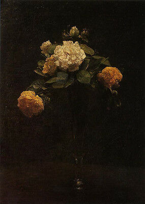 Oil painting Henri Fantin Latour - White and Yellow Roses in a Tall Vase