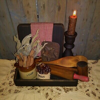 Primitive Kitchen Gathering~Tray~Dough Board~Spoon~R-Pin~Mallet~Cup~Towel~Herbs