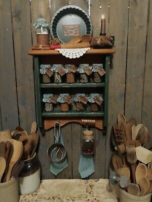 Primitive Gathering Spice Cupboard~Herb Jars~Sifter~R-Pin~PieTin~Milk Jug~Candle