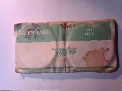 """Nos Vintage """"Thermo Green Label 50Mm Welders Filter Lens"""" ~ Thermacote Shade 4"""