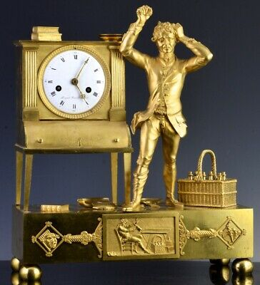 EXCEPTONAL c1820 FRENCH EMPIRE ORMOLU GOLD GILT BRONZE ENAMEL TABLE MANTLE CLOCK