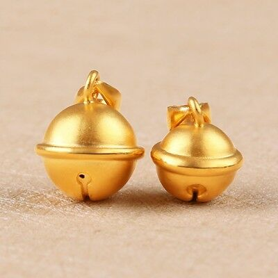 1pcs 999 New Pure 24K Yellow Gold Pendant Woman's 3D Lucky Big Bell Gift 12*14mm