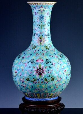 Exceptional Chinese Famille Rose Turquoise Ground Enamel Jiaqing Porcelain Vase