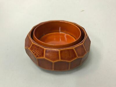 Japanese Wooden Lacquer ware Bowl Vtg Shunkei Nuri  2pc Wood Red Nurimono LW658