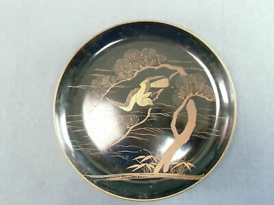 Antique Japanese Lacquer ware Plate Wooden Gold 7in Hawk Pine tree Makie LP5