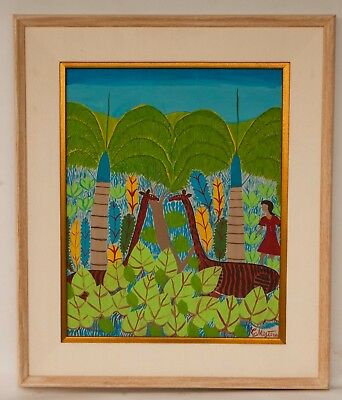 Vintage 1970's Framed Haitian Painting on Canvas Board Signed CHERITUS  MISTIRA